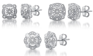 1/6 CTTW Diamond Vintage Style Studs in Sterling Silver by DeCarat