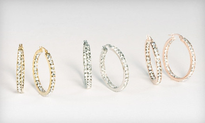 Austrian Crystal Hoop Earrings: $19 for Three Pairs of Austrian Crystal Hoop Earrings ($100 List Price). Free Shipping.