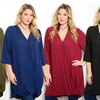 V-Neck Wrap Front Dress With Relaxed Sleeves - Plus Size