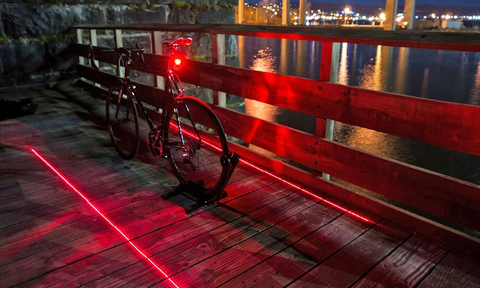 LED Bike Tail Light with Laser Safety Lane