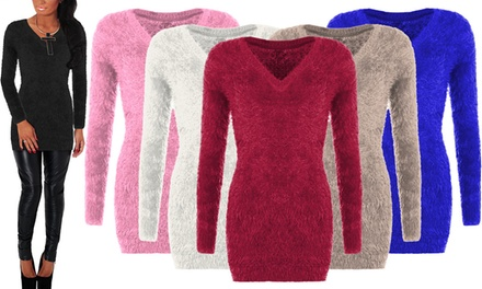 Women's VNeck Fluffy Jumper for £9.98