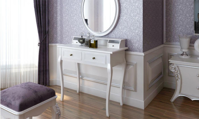 coiffeuse miroir et tabouret groupon shopping. Black Bedroom Furniture Sets. Home Design Ideas