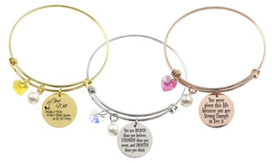Stainless Steel Inspirational Bangle with Crystals from Swarovski