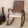 Panel-Back Mahogany-Finish Wooden Rocking Chair