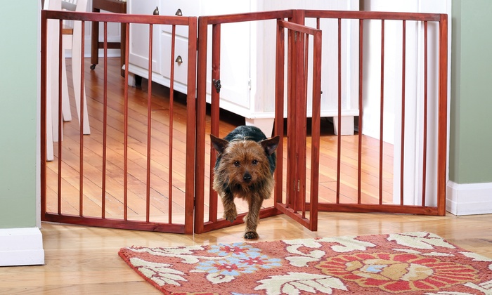 3 Section Wooden Pet Gate Groupon Goods