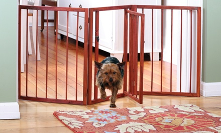 3-Section Wooden Pet Gate with Door