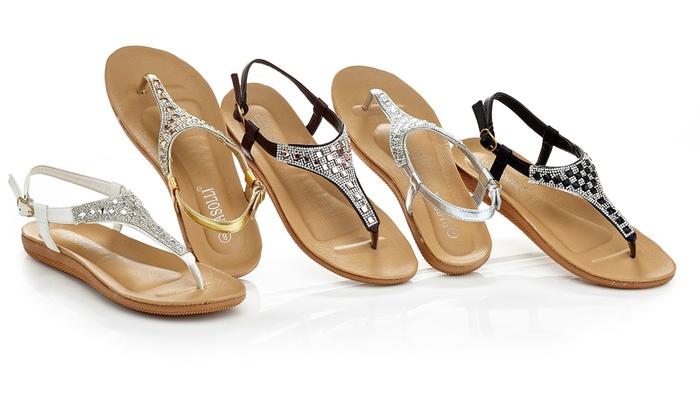 152a8467687c Rasolli Women s Flat Thong Sandals with Rhinestones