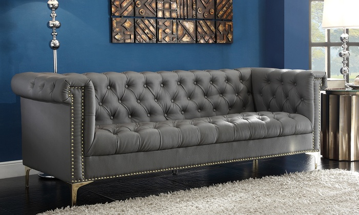 Winston Modern Tufted Sofa With Gold Tone Trim And Metal Feet