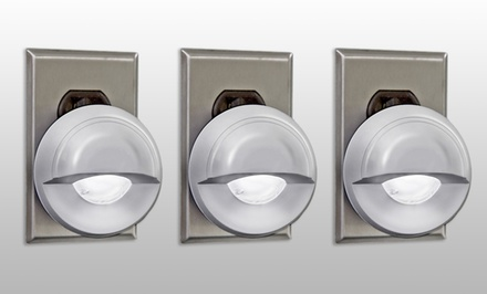 3-Pack of Night-Sensor Swivel-Head LED Lights. Free Returns.
