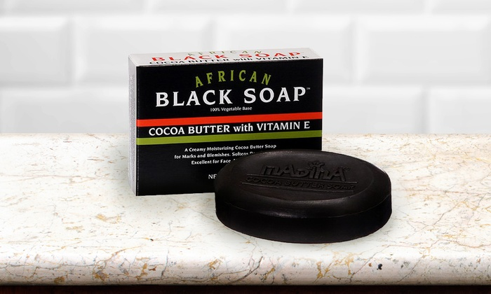 Madina African Black Soap with Cocoa Butter and Vitamin E (6-Pack)