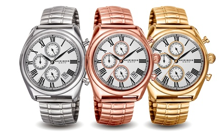 Akribos XXIV Men's Multifunction Dual-Time Stainless Steel Bracelet Watch