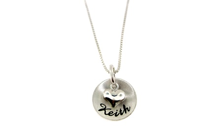 Personalized Name and Puffed Heart Necklace from Hannah Design