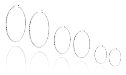 Solid Silver 20mm–50mm Diamond Cut Hoops