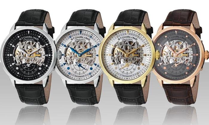 stuhrling original men s watches groupon goods stuhrling original men s executive skeleton automatic watch stuhrling original men s executive skeleton automatic watch