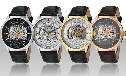 Stuhrling Original Men's Executive Skeleton Automatic Watch. Multiple Styles Available.