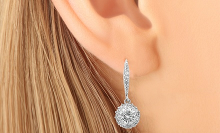 10-Carat Total Weight Simulated-Diamond Drop Earrings