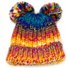 Kids' Space Dyed Yarn Beanie with Double Pompoms