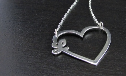 $29.99 for a Custom Double-Initial Heart Pendant Necklace from NameJewelrySpot ($134 Value)