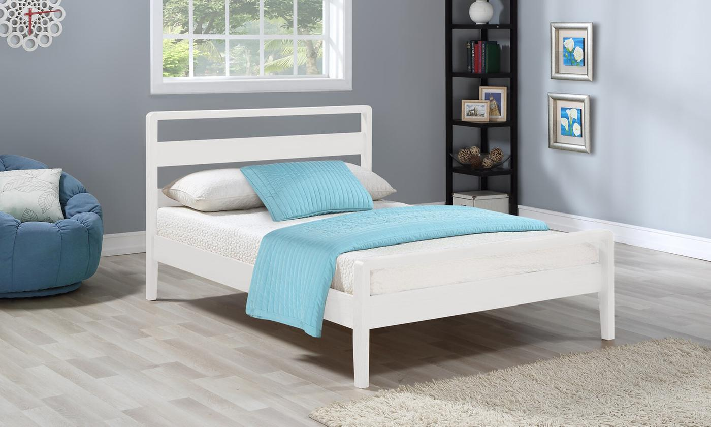 Swiss-Style Wooden Contemporary Bed Frame with Optional Mattress