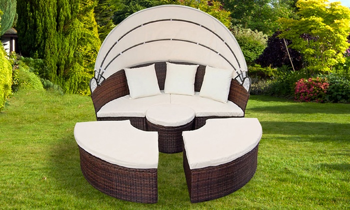 Rattan Garden Furniture Groupon rattan-effect garden daybed | groupon goods