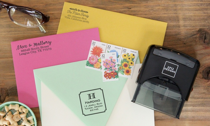 2712 Designs: Personalized Self-Inking Stamp from 2712 Designs (Up to 58% Off)