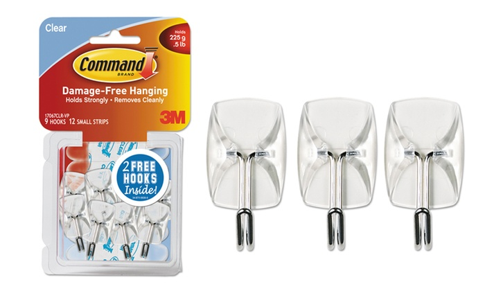 Command Clear Hooks & Strips: Command Clear Hooks & Strips with 11 Hooks and 14 Adhesive Strips