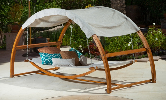 Rosalie Outdoor Swing Bed and Canopy Rosalie Outdoor Swing Bed and Canopy ... & Rosalie Outdoor Swing Bed and Canopy | Groupon