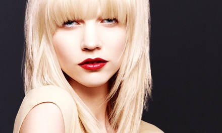 Haircut and Hair Therapy with Optional Color or Highlights at Namaste Aveda Pure Design Training Studio (Up to 63% Off)