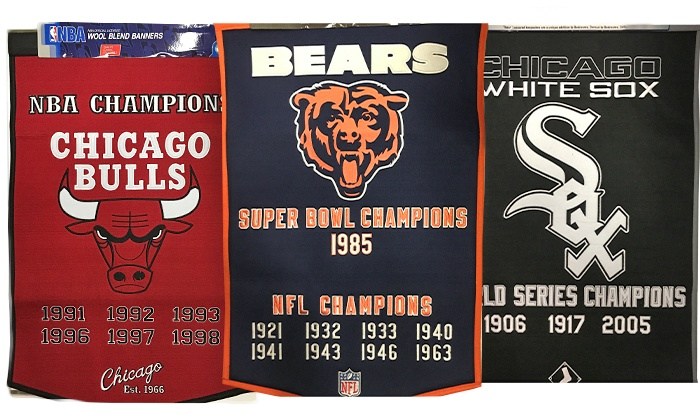 Campus Gear - IN-STORE PICKUP: $69 for Blackhawks, Bulls, White Sox, Cubs, or Bears Championship Banner with In-Store Pickup at Campus Gear ($87 Value)