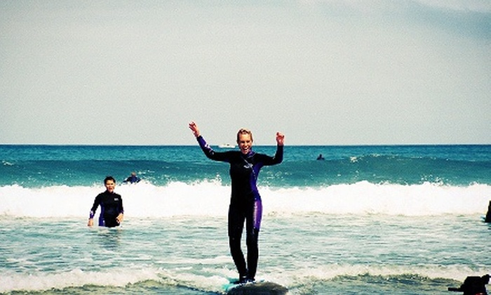 Adventure Out - Multiple Locations: Three-Hour Beginners' Surfing Lesson for One or Two with Gear from Adventure Out (Up to Half Off)