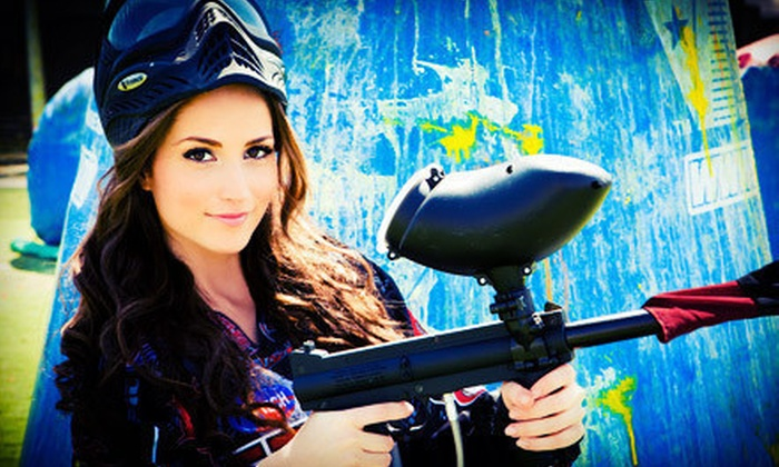 Paintball International - Multiple Locations: All-Day Paintball Package with Equipment Rentals for 6 or 12 from Paintball International (Up to 88% Off)