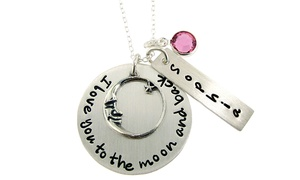 "Hannah Design: $26.99 for ""I Love You to the Moon and Back"" Custom Silver Necklace with Birthstone from Hannah Design ($52 Value)"
