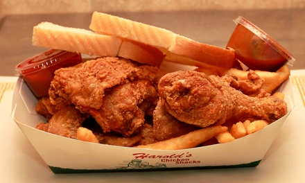 $12 for $20 Worth of Fried Chicken and Drinks at Harold's Chicken Shack