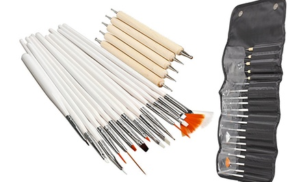 20-Piece Nail Art Set with Brushes and Dotting Tools