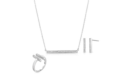 Genuine Diamond Bar Jewelry Set with Ring, Necklace, and Earrings