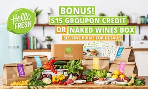 HelloFresh: HelloFresh: Weekly Delivered Meal Kits from $29.90 + BONUS $15 Groupon Credit or NakedWines Box - New Customers Only