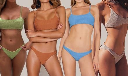 Brazilian Pleated Bandeau Bikini: One ($15) or Two ($25)