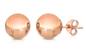 14K Solid Rose Gold Ball Stud Earrings: 14K Solid Rose Gold Ball Stud Earrings