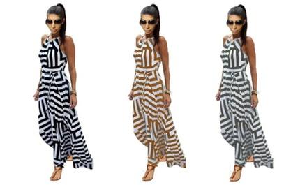 1 of 2 lange jurken met strepen