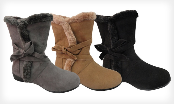 Carrini Vegan-Suede Boots: $19 for Carrini Vegan Suede Boots ($50 List Price). Multiple Colors and Sizes Available. Free Shipping and Free Returns.