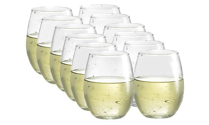 12 pack of luminarc bola 15oz stemless wineglasses groupon. Black Bedroom Furniture Sets. Home Design Ideas