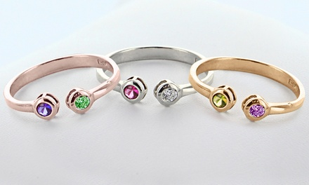 His and Hers Couples Ring with Birthstones from ShopOnlineDeals.com