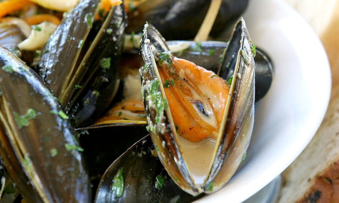 AOC Bistro - Brooklyn: French Cuisine or Moules Frites Meal with Drinks for Two at AOC Bistro (Up to 56% Off)