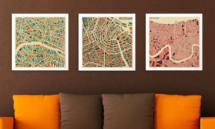 18''x18'' Retro City Map by Jazzberry Blue: 18''x18'' Retro City Maps by Jazzberry Blue. Multiple Cities Available. Free Shipping and Returns.
