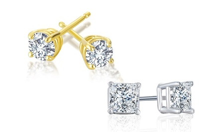 1/4 CTTW Diamond Solitaire Earrings by Today Tomorrow Together