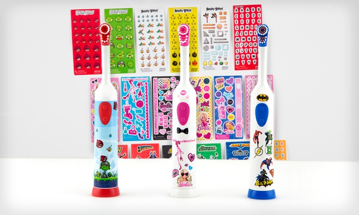 Kids' Customizable Electric Toothbrush with Stickers: $9 for Kids' Electric Toothbrush with Angry Birds, Barbie, or Justice League Stickers ($19.99 List Price). Free Returns.