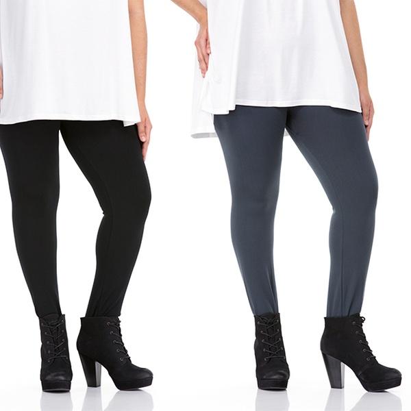 c7ac7f486fb505 Sociology Women's Plus-Size Fleece-Lined Leggings (One Size, 2-Pack Black /Brown)