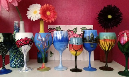 BYOB Wine-Glass-Painting Class for One or Two at VIP Paints (Up to 46% Off)