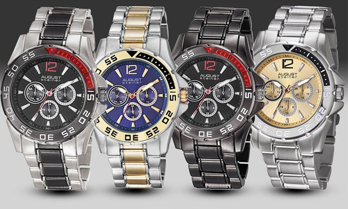 August Steiner Men's Quartz Multifunction Watches: August Steiner Men's Quartz Multifunction Watches (Up to 91% Off). Multiple Styles Available. Free Shipping and Returns.