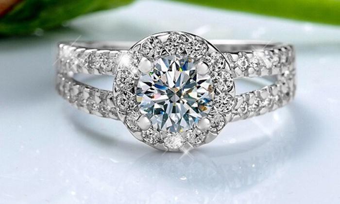 Bague Sparkling plaque or et orne de cristaux Swarovski® taille au choix à 1490 € (79% de rduction)